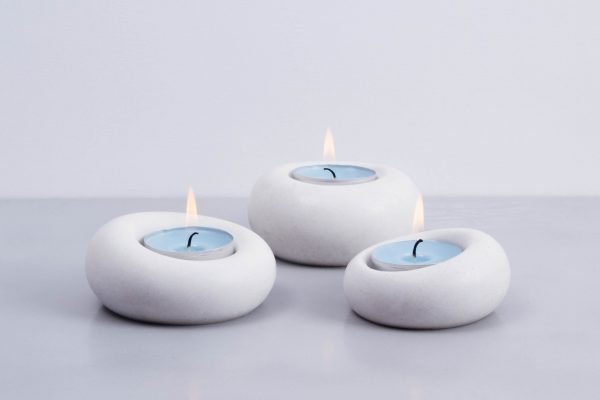 White concrete designer tealight holder family