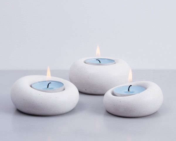 Concrete design tealight holder family
