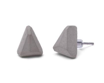 Beton fülbevaló, geometrikus forma -WEDGE - szürke