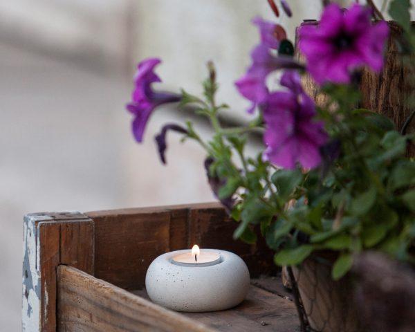 concrete design tealight holder garden decoration