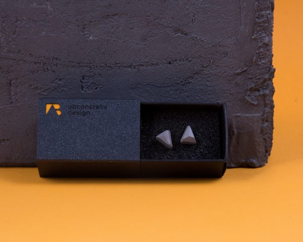 Geometric shaped triangle earrings made of special concrete mixture