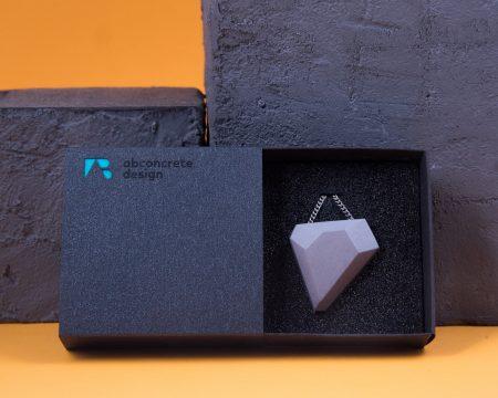 Designer geometric shaped concrete necklace with elegant cardboard gift box