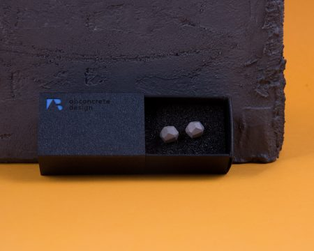Meteoric shaped designer earrings made of special concrete mixture