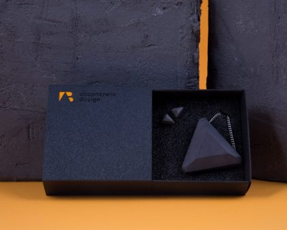 Triangle shaped designer concrete jewelry set with elegant cardboard giftbox.