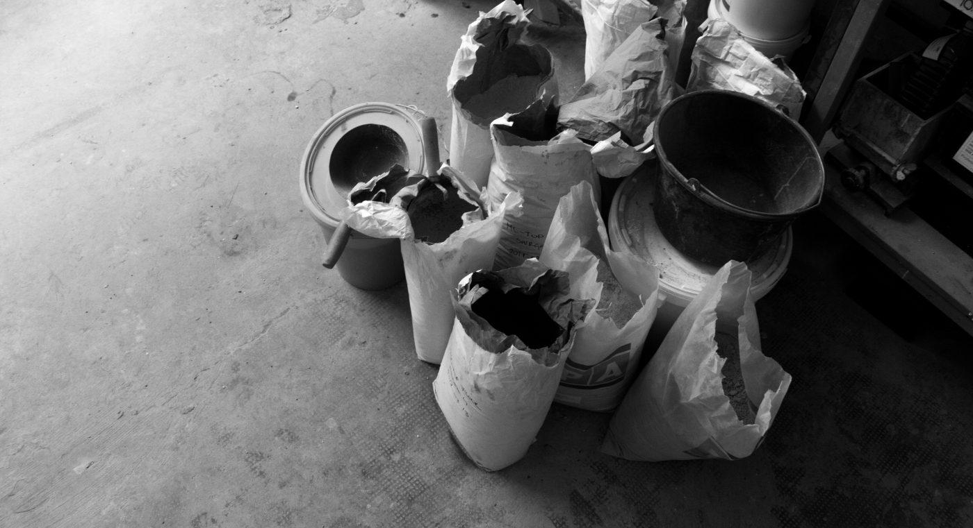 Building materials at concrete design studio's workshop