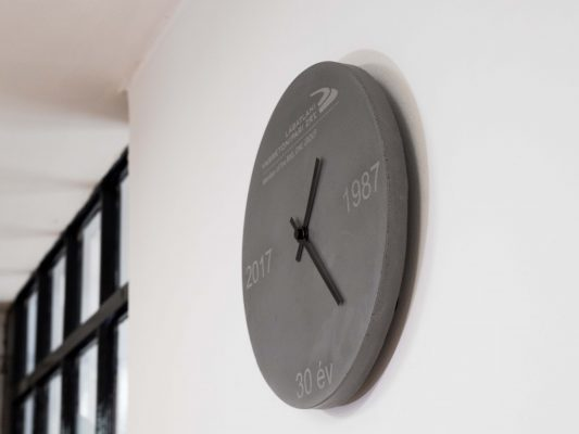Concrete wallclock as retirement gift for concrete technologist after 30 years