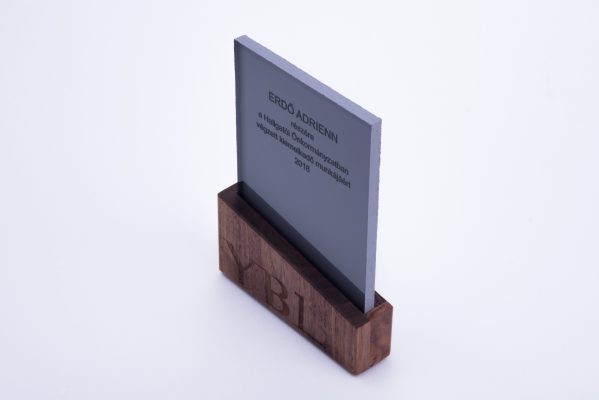 wood and concrete design trophy for university student with brand identity