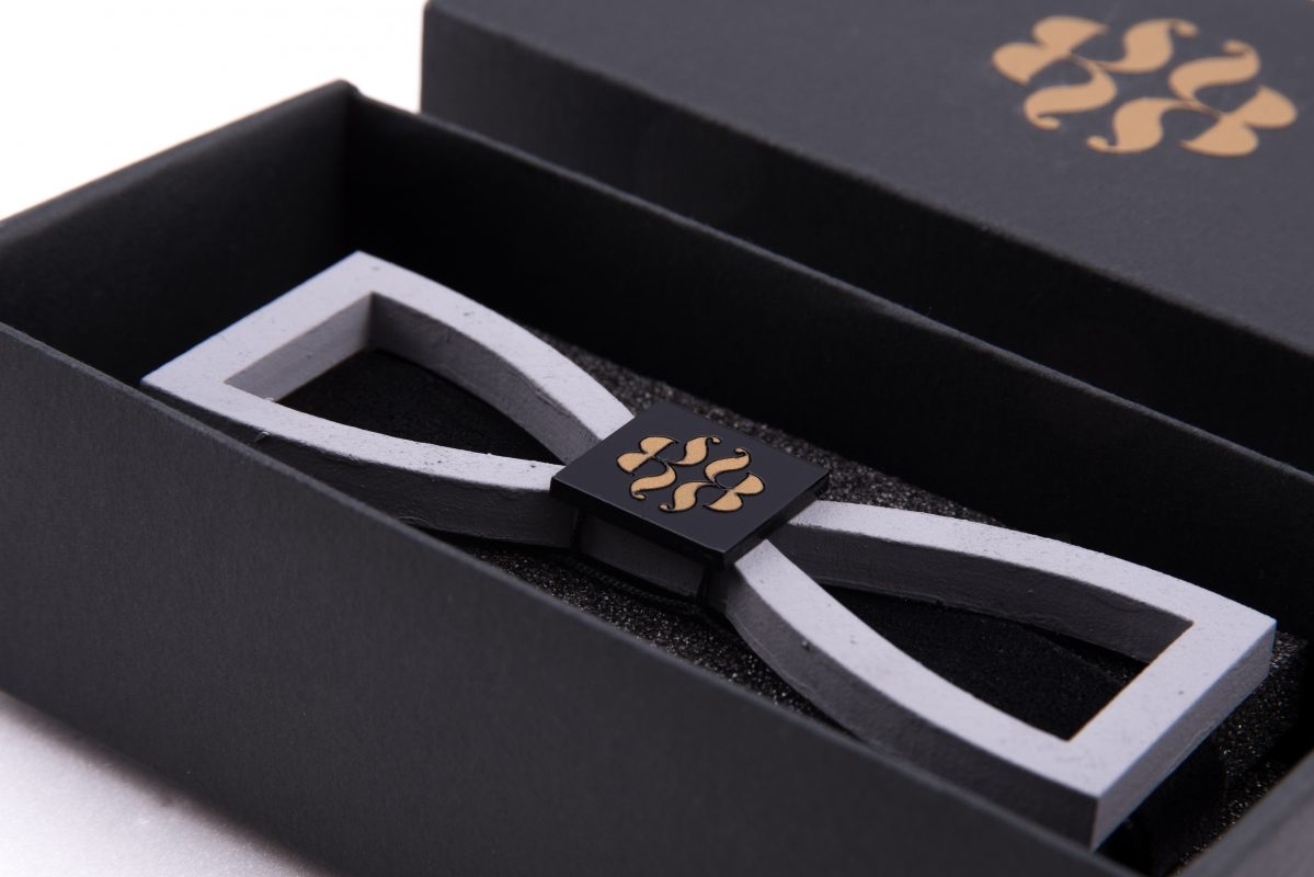 Cool designer bowtie with brand identity and custom made packaging