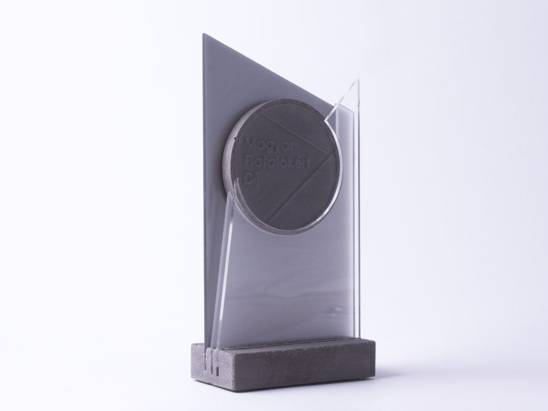 concrete and arcylic glass custom made trophy design