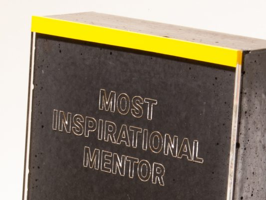 Custom made concrete and acrylic glass trophy for mentoring programme winners