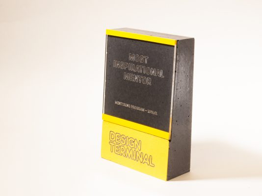 Custom made award for Design Terminal mentoring programme winners