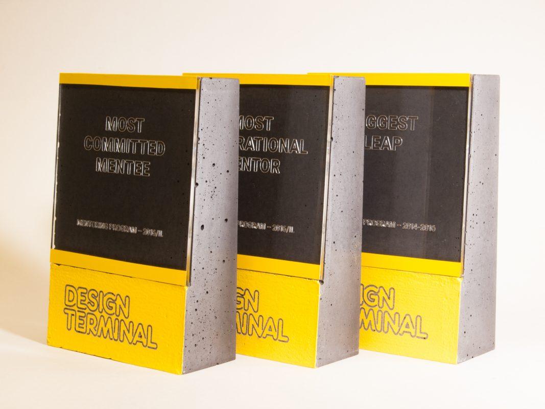 Custom made awards for Design Terminal's mentoring programme winners