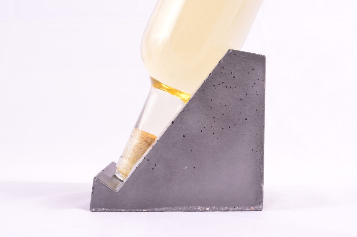 Concrete design wine holder for Lafarge as corporate gift