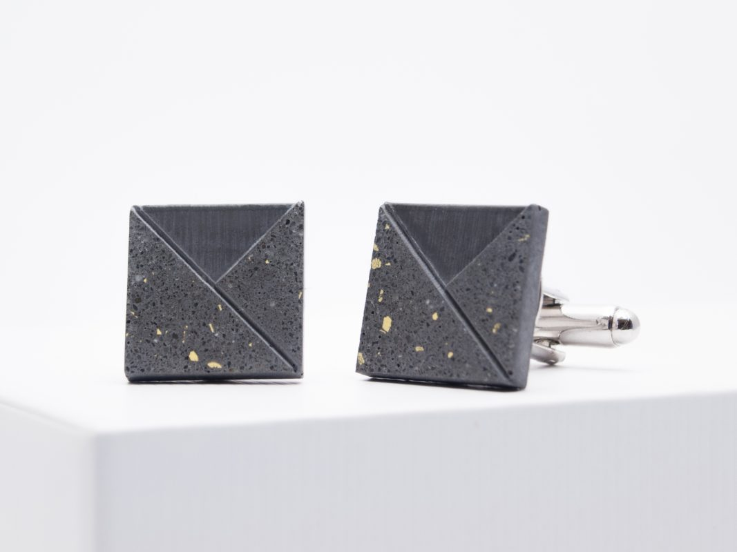 Designer concrete cufflinks with terrazzo pattern in anthracite and yellow