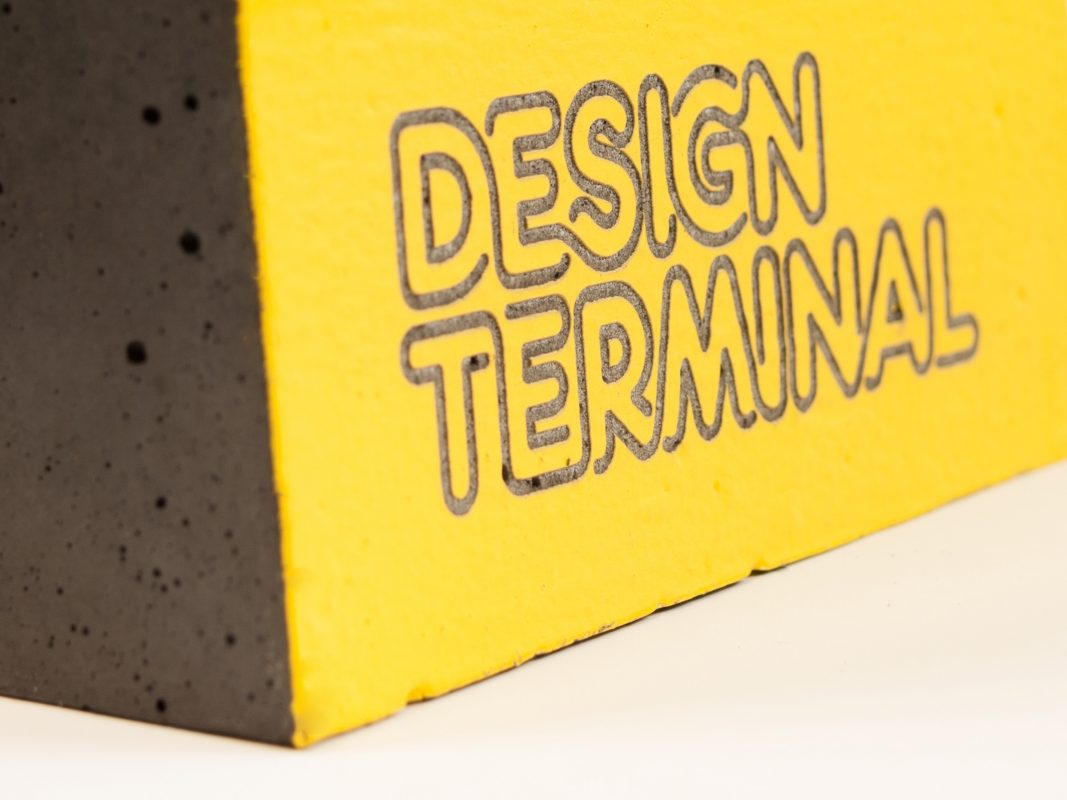 Engraved concrete awards for the winners of Design Terminal mentoring programme