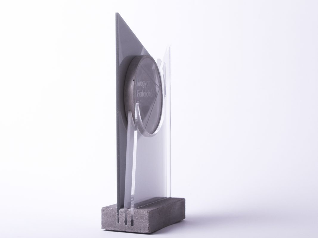 Custom made concrete and acrylic glass trophy