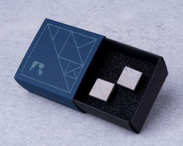Gray and red terrazzo cufflinks with gift box