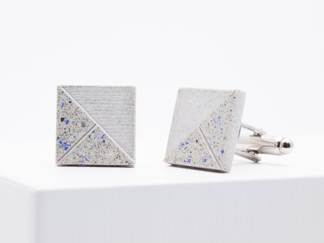Concrete Cufflinks terazzo blue-white DELTA