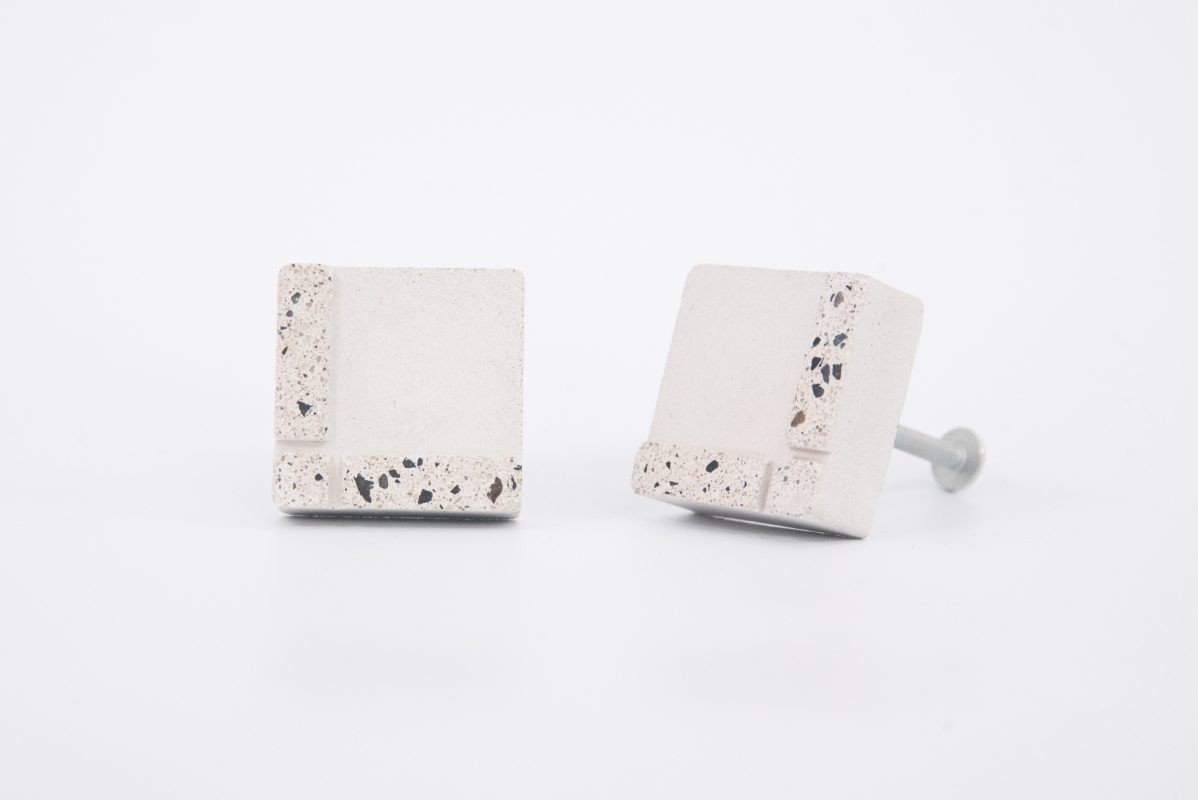 Unique white terrazzo concrete cabiner knobs for your ikea furniture