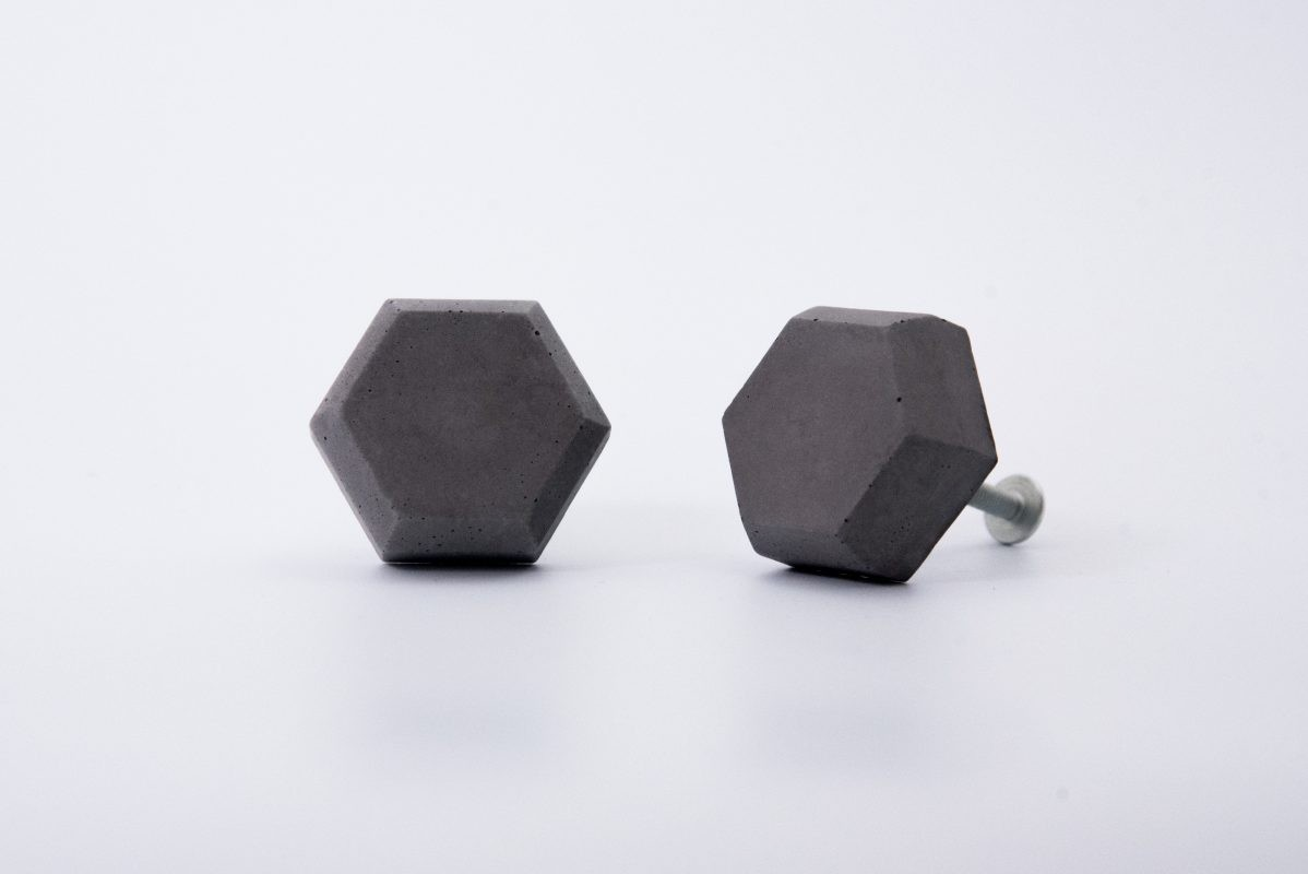 Hexagon shaped concrete cabinet knobs for your ikea furnitures