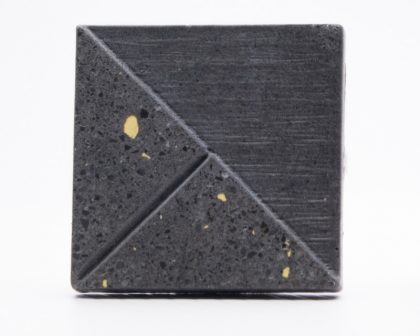 Designer concrete cufflink with Dark and Yellow particles