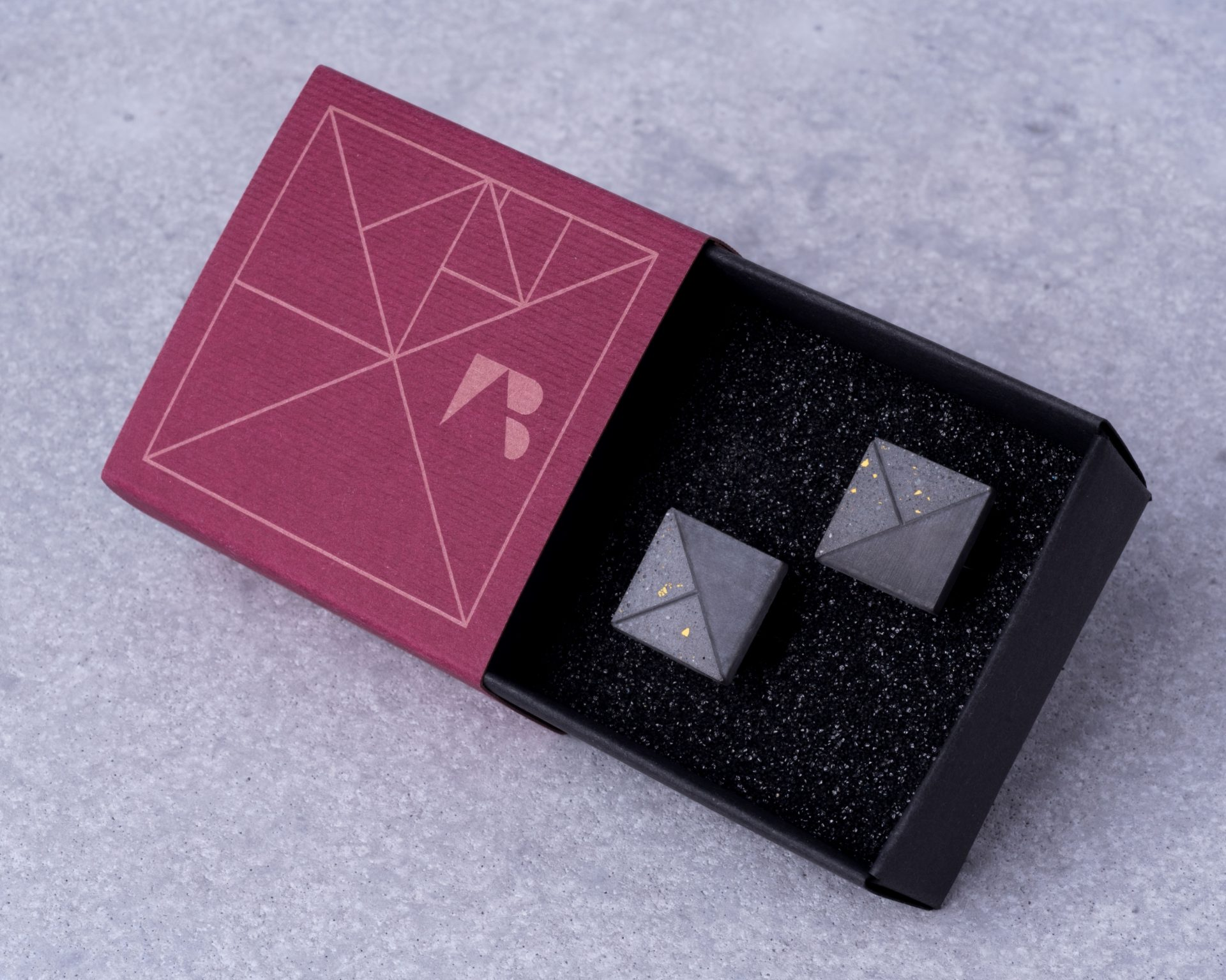 Designer terrazzo cufflinks with unique packaging perfect gift idea for business men