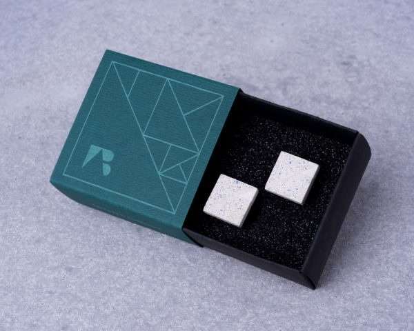 Cool designer cufflinks with unique cardboard giftbox