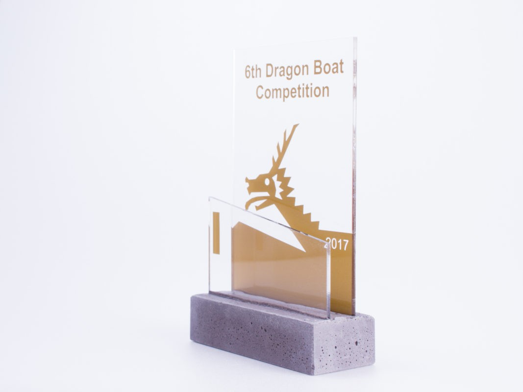 Concrete acrylic dragon boat trophy for construction companies' competition