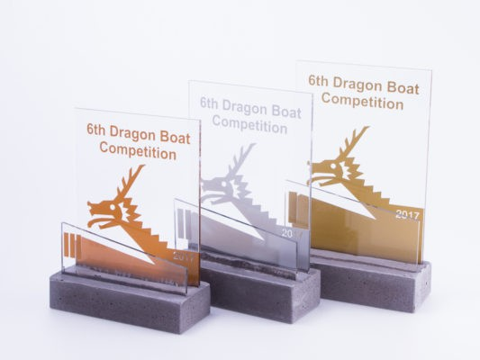 Dragon boat concrete trophies for construction companies competition