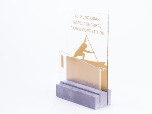 Golden trophy for concrete canoe competiton made of concrete and acryl