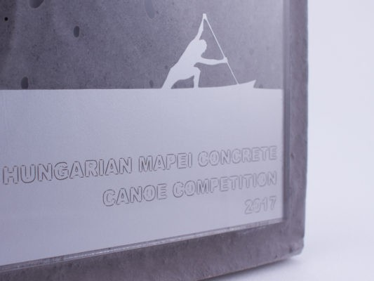 Concrete and acrylic glass plaque for sports, tech, cultural competitions, events