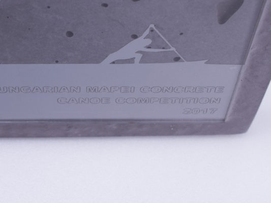 Unique concrete and acrylic glass plaque for Hungarian Mapei Concrete Canoe Competition
