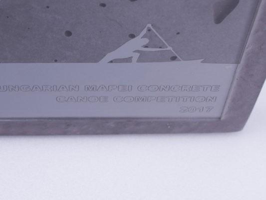 Unique concrete and acrylic glass plaque for Hungarian Mapei Concrete Canoe Competition