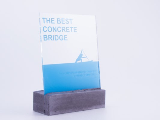 Custom made trophy for the concrete bridge competiton winner