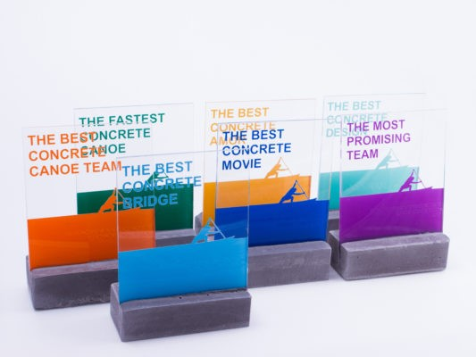 Designer trophies for the special award winners of Hungarian Concrete Canoe Competition