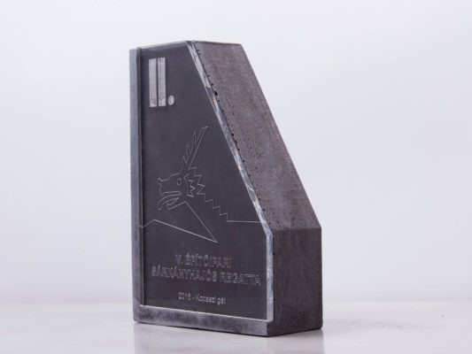 Silver trophy for construction companies' dragon boat award made of concrete