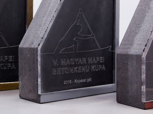 Concrete and plexi glass trophies for Hungarian Concrete Canoe Championship