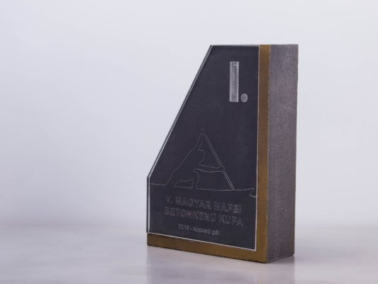 Custom made golden concrete trophy design for Hungarian Concrete Canoe Competition