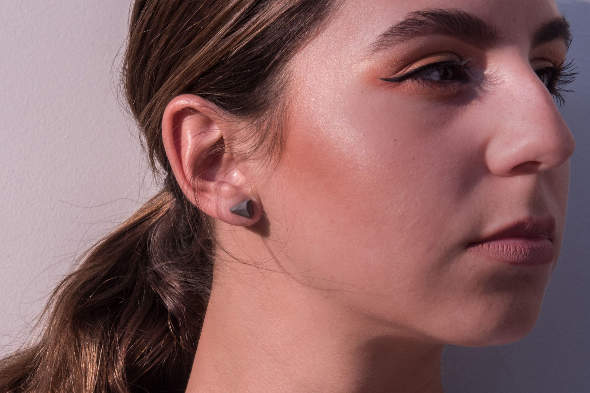 Triangle shaped concrete design earring