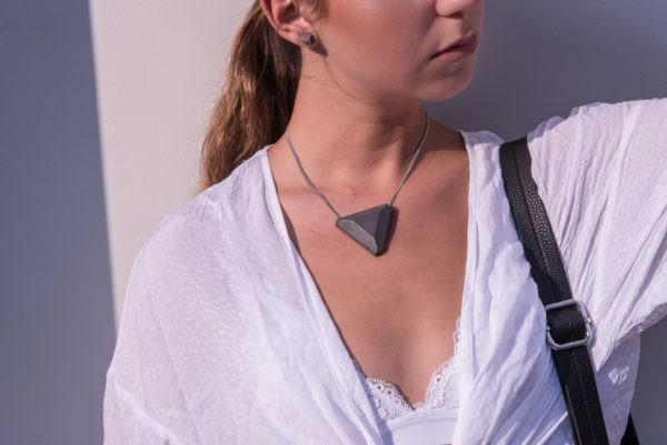Concrete designConcrete design geometric triangle pendant and earringser jewelry set produce and design by AB Concrete Design