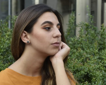 Designer concrete earrings inspired from space meteorits