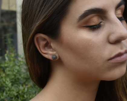 Dark gray concrete earring