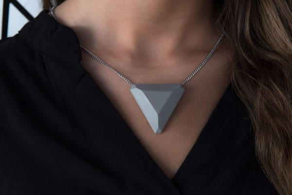 Triangle shaped concrete necklace