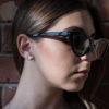Triangle designer jewel - white concrete earring