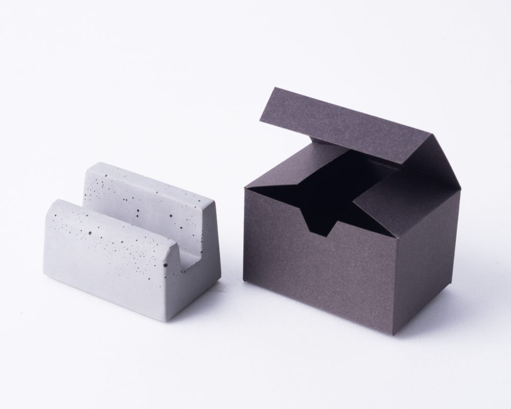Designer concrete business card holder for business partners