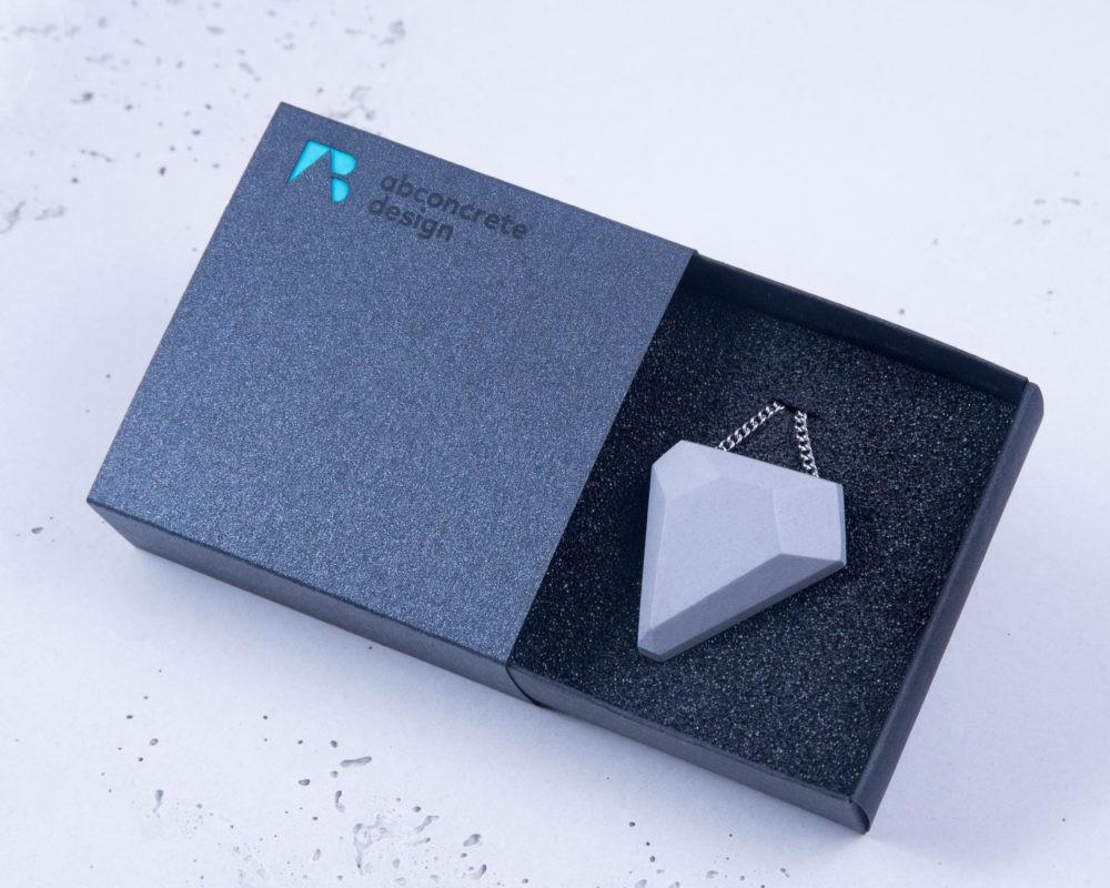 Designer geometric pendant and necklace made of concrete