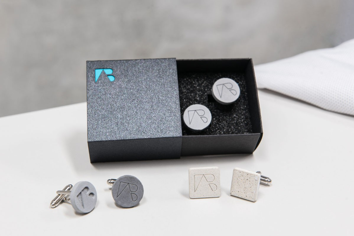 Concrete cufflink variations with custom shape, color, texture and logo options by AB Concrete Design