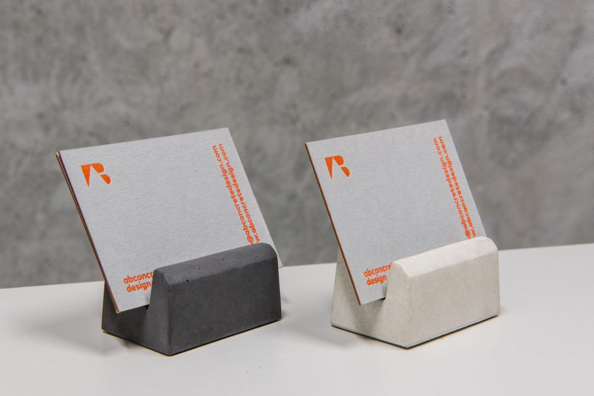 Minimalist concrete business card holders in several color options