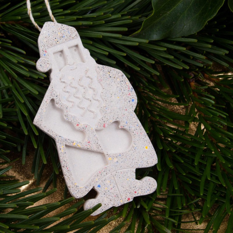 Christmas tree ornament colorful concrete santa claus