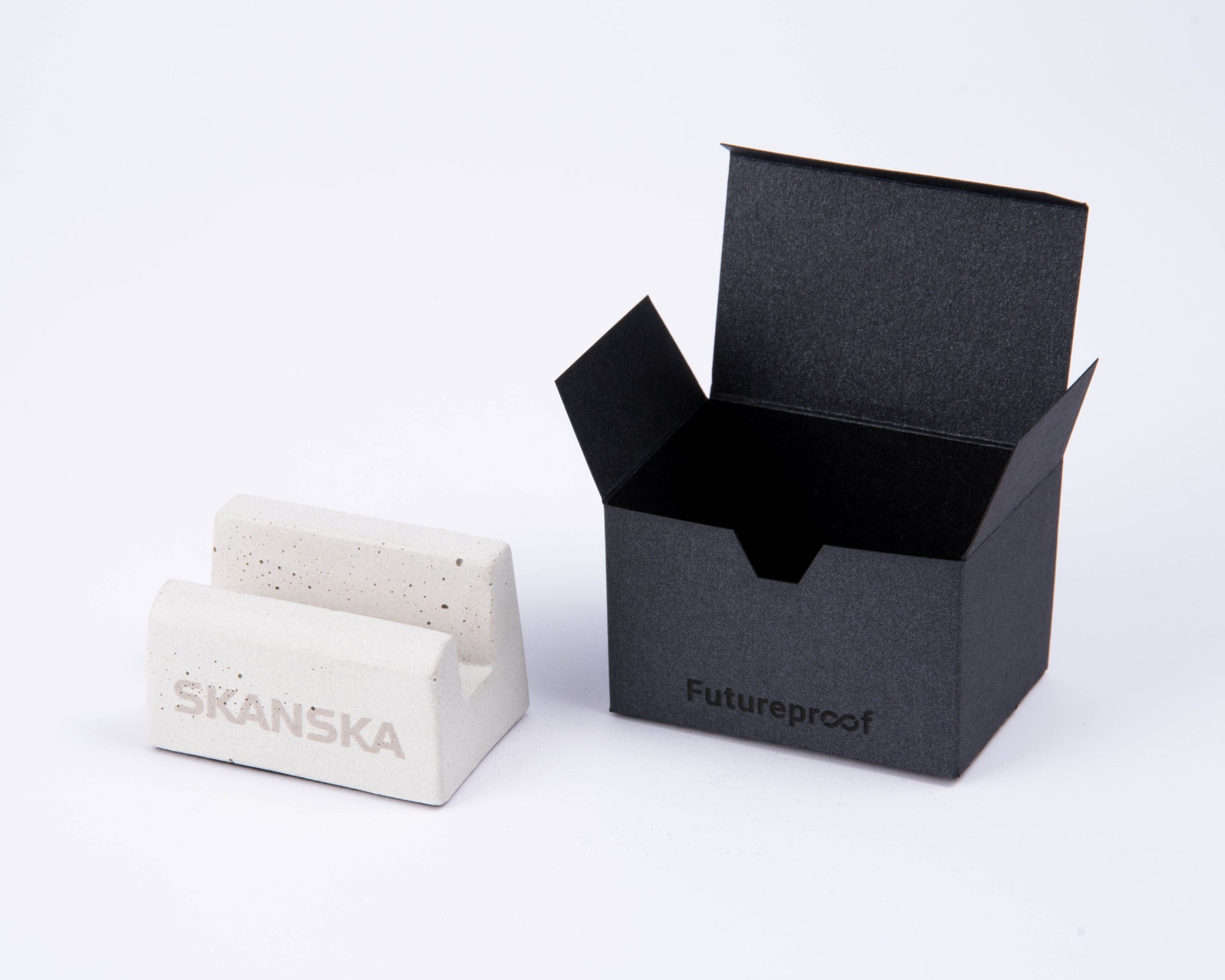 Branded business card holder as corporate gift for Skanska